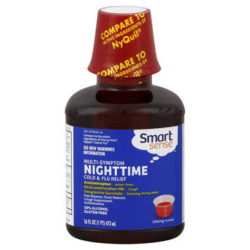 Smart Sense Cold & Flu Relief, Nighttime, Multi Symptom, Cherry Flavor, 16 oz - KMART CORPORATION