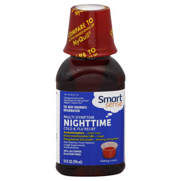 Smart Sense Multi Symptom Nighttime Cold & Flu Relief 10FZ Liquid Cherry - KMART CORPORATION
