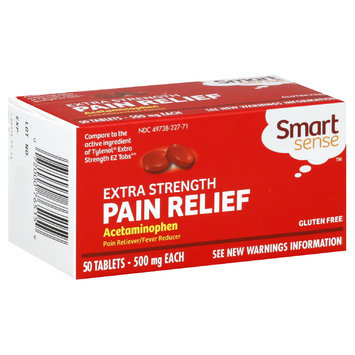 Smart Sense Pain Relief, Extra Strength, 500 mg, 50 Tablets - KMART CORPORATION
