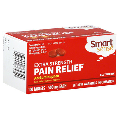 Smart Sense Pain Relief, Extra Strength, 500 mg, 100 Tablets - KMART CORPORATION