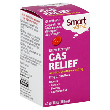 Smart Sense Gas Relief, Ultra Strength, 180 mg, 60 Softgels - KMART CORPORATION