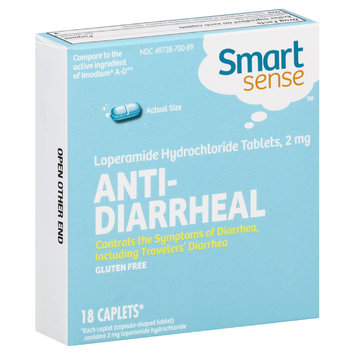 Smart Sense Anti Diarrheal, 2 mg, 18 Caplets - SUNSHINE DAIRY INC.