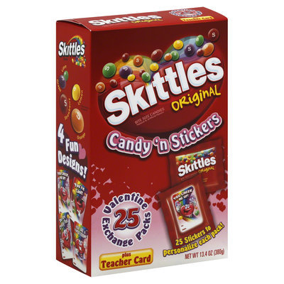 Skittles Valentine's Day Pouches with Assorted Stickers 25 ct
