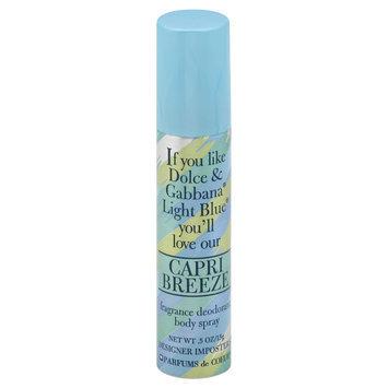 Parfums De Coeur Capri Breeze Fragrance Deodorant Body Spray, 0.5 oz (15 g)