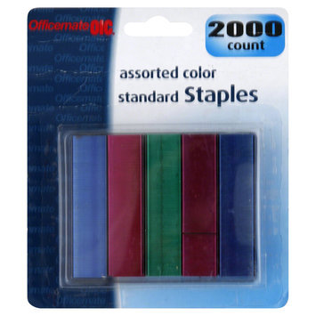 Officemate OIC91937 Assorted Colors Standard Staples Pack of 2000