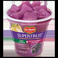 Del Monte®Super Fruit Pear Chunks + Acai & Blackberry Juice Blend