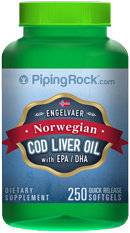 Piping Rock Cod Liver Oil Norwegian 250 Softgels