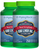 Piping Rock Cod Liver Oil Norwegian 2 Bottles x 250 Softgels