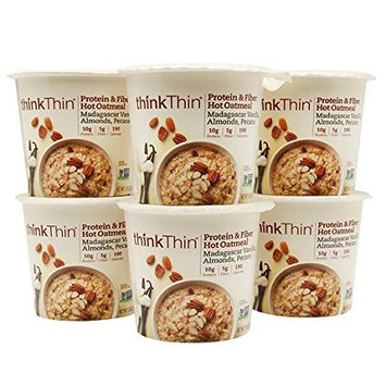 thinkThin Protein & Fiber Hot Oatmeal Cups, Madagascar Vanilla, Almonds, Pecans