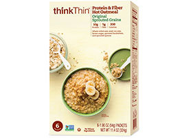 thinkThin Protein & Fiber Hot Oatmeal Original Sprouted Grains