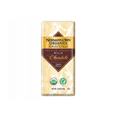 Newman's Own Organic Premium Chocolate Bar Milk 34% Cocoa