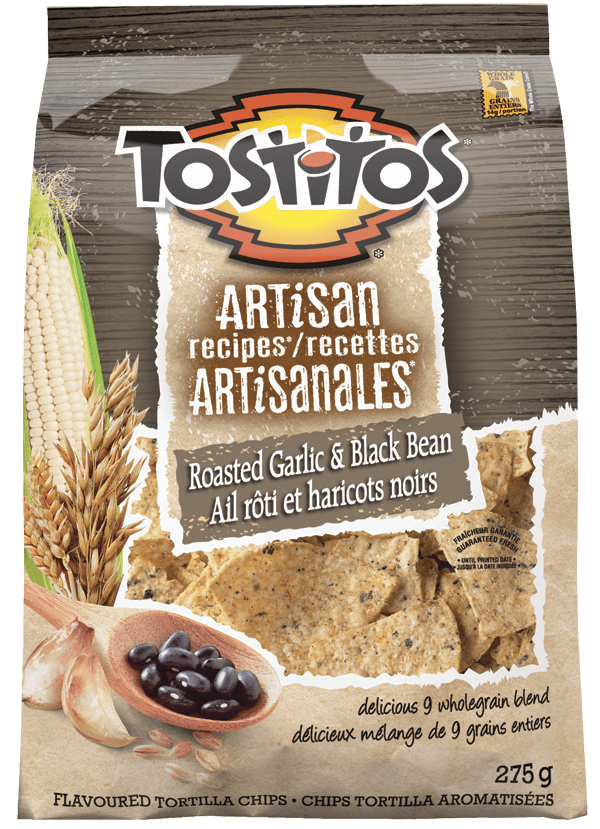 TOSTITOS® ARTISAN RECIPES® Roasted Garlic & Black Bean Tortilla Chips