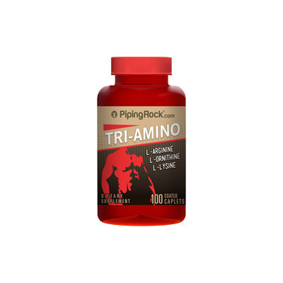 Piping Rock Tri Amino L-Arginine L-Ornithine L-Lysine 100 Coated Caplets