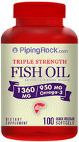 Piping Rock Omega-3 Fish Oil Triple Strength 1360mg 100 Softgels