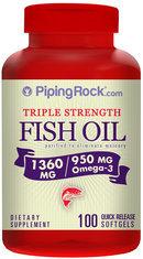 Piping Rock Omega-3 Fish Oil Triple Strength 1360mg 100 Softgels