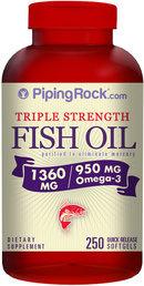 Piping Rock Omega-3 Fish Oil Triple Strength 1360mg 250 Softgels