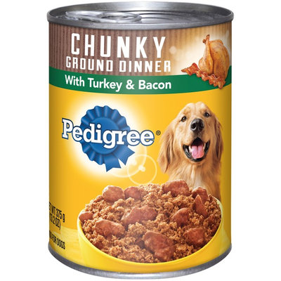 Pedigree® Chunky Turkey & Bacon Meaty Ground Dinner Dog Food Canned