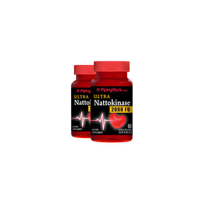 Piping Rock Ultra Nattokinase 2000 FU 100 mg 2 Bottlex x 60 Capsules