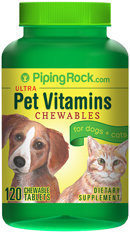 Piping Rock Pet Vitamins for Dogs & Cats 120 Chewable Tablets