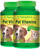 Piping Rock Pet Vitamins for Dogs & Cats 2 Bottles x 120 Chewable Tablets