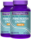 Piping Rock Pancreatin Enzyme 1500 mg 2 Bottles x 250 Coated Caplets