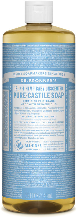 Dr  Bronner's 18-in-1 Hemp Baby Unscented Pure - Castile Soap Reviews 2019