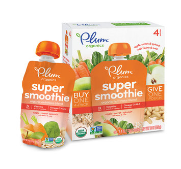 Plum Organics Super Smoothie Apple, Carrot, Spinach With Beans & Oats