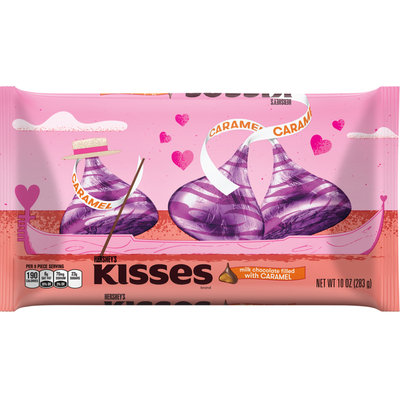 Hershey's Valentine's Kisses Milk Chocolates Filled With Caramel