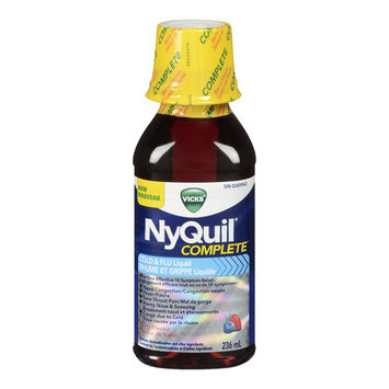 Vicks NyQuil Complete Cold and Flu Liquid, Berry flavour, 236 mL