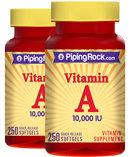 Piping Rock Vitamin A 10,000 IU 2 Bottles x 250 Softgels