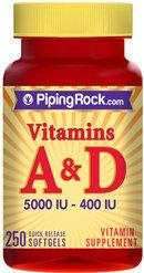 Piping Rock Vitamin A & D3 A-5000 IU D-400 IU 250 Softgels