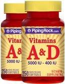 Piping Rock Vitamin A & D3 A-5000 IU D-400 IU 2 Bottles x 250 Softgels