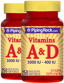 Piping Rock Vitamin A & D3 A-5000 IU D-400 IU 2 Bottles x 250 Softgels