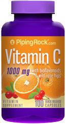 Piping Rock Vitamin C 1000mg Bioflavonoid & Rose Hips 100 Capsules