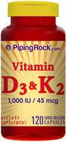 Piping Rock Vitamin D 3 and K 2 120 Capsules
