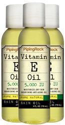 Piping Rock Vitamin E Oil 5000 IU 3 Bottles x 4 fl oz