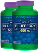 Piping Rock Wild Blueberry 600mg Fruit 2 Bottles x 120 Capsules