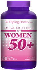 Piping Rock Woman's Mega Multi Vitamin 50 Plus 200 Coated Caplets