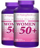Piping Rock Woman's Mega Multi Vitamin 50 Plus 2 Bottles x 200 Coated Caplets