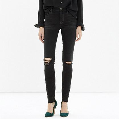 High Riser Skinny Skinny Cut-Edge Jeans in Black Sea Madewell