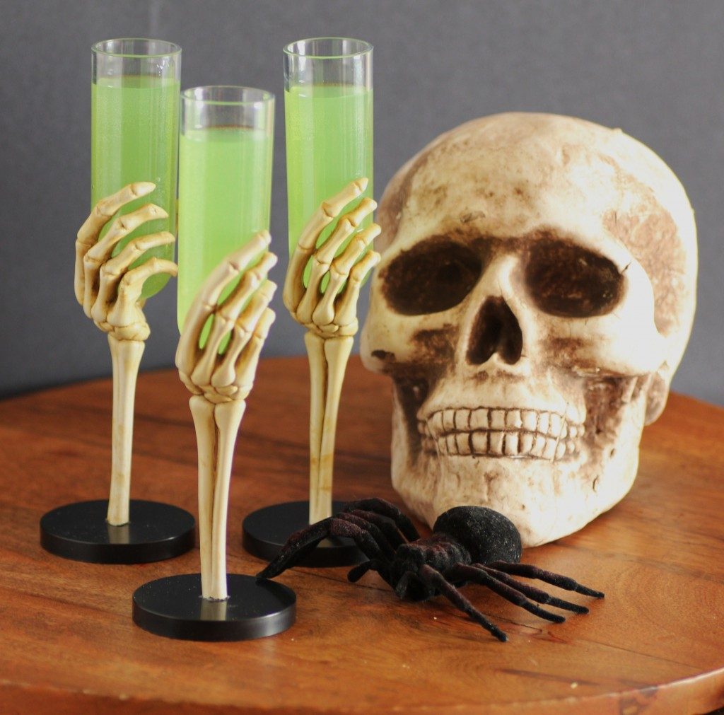 green halloween cocktail