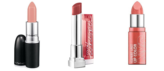 mac liptstick, nyc new york color expert last lip color, and maybelline colorsentational color whisper lipcolor