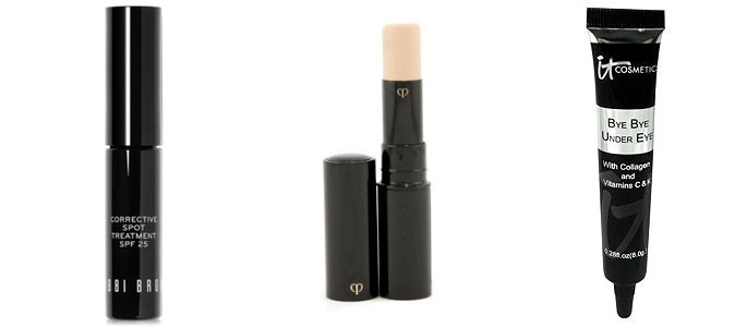 bobbi brown corrective spot treatment, cle de peau concealer, and it cosmetics bye bye under eye