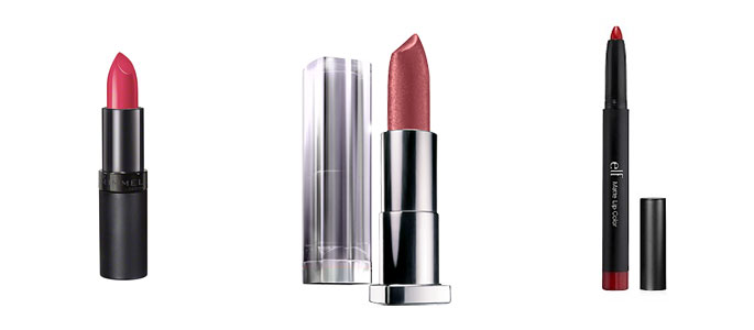 rimmel lasting finish the kate moss collection, maybelline color sensational lipcolor, and elf studio matte lipstick