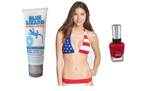 Ralph Lauren swimsuit, Blue Lizard sunscreen, Sally Hansen nailpolish