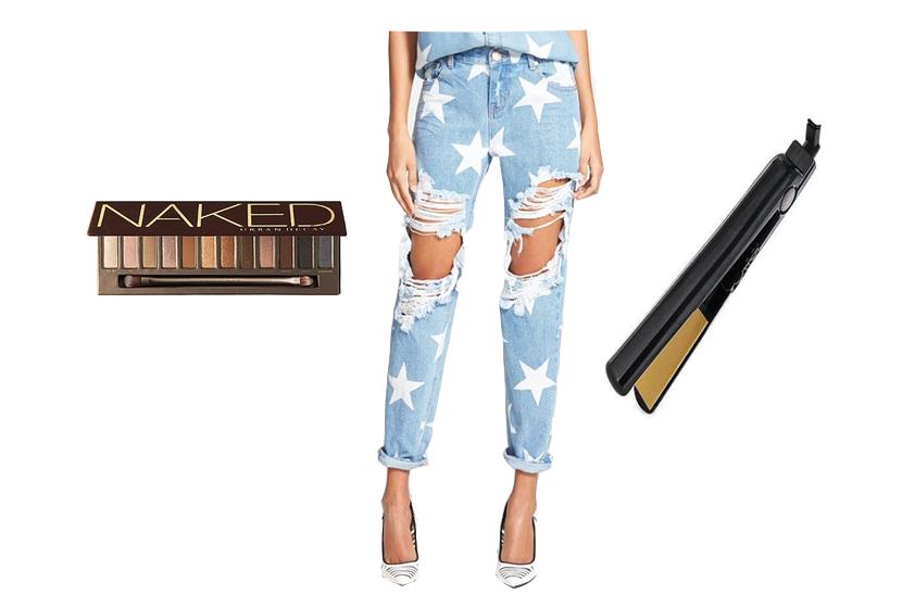 boyfriend jeans, naked palette, chi straightener