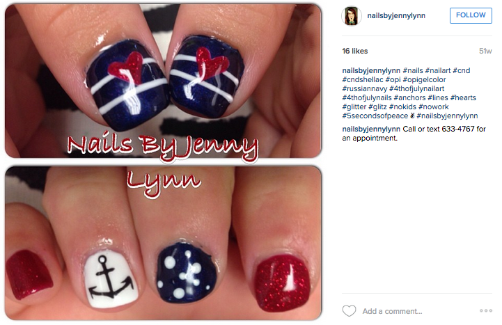 4th of july nails, nautical nails, nail art