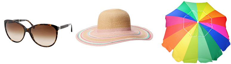 beach essentials, sunglasses, floppy hat, umbrella