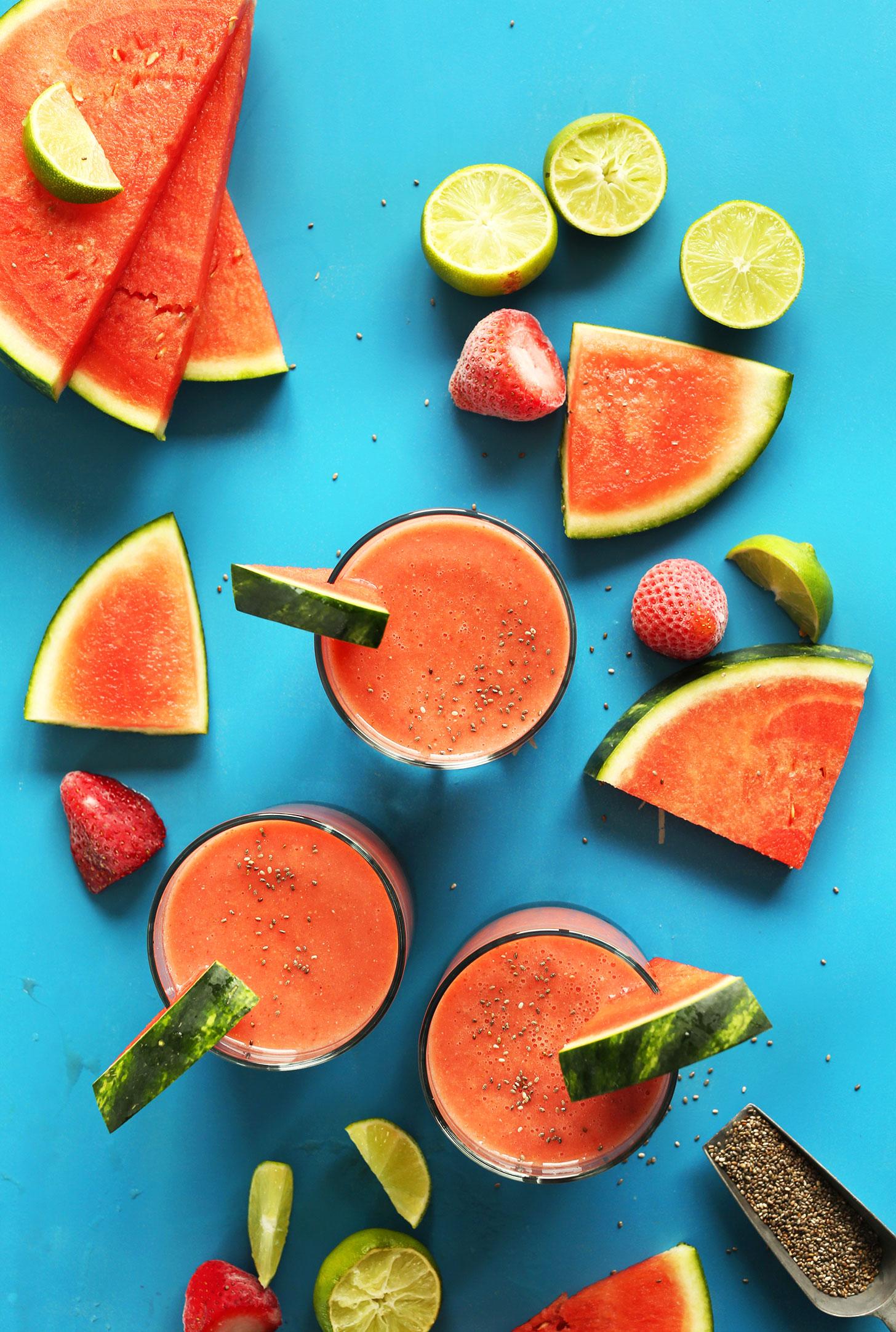 strawberry watermelon chia smoothie