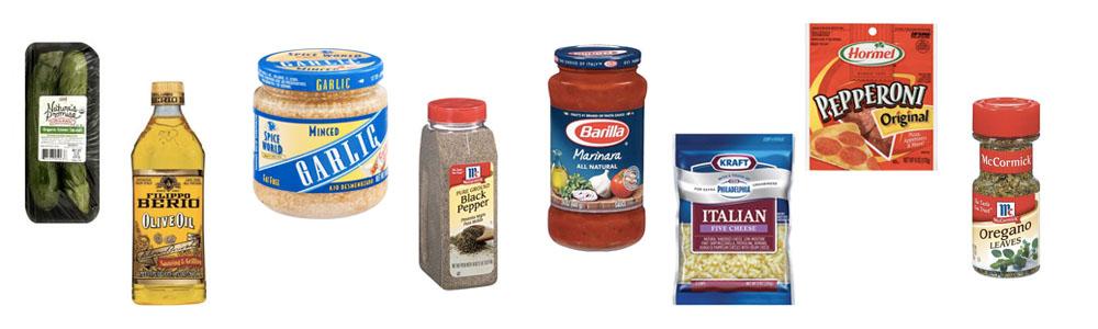 Zucchini pizza ingredients